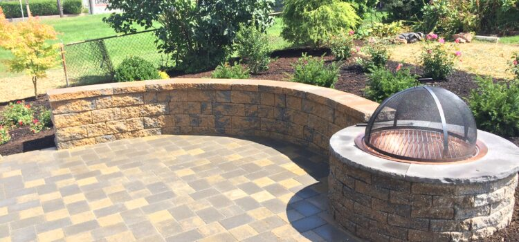 York County PA Built In Fire Pit and Retaining Wall